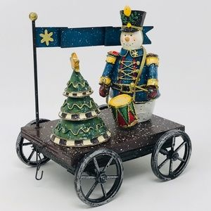 Large Holiday Snowman Cart with Christmas Tree
